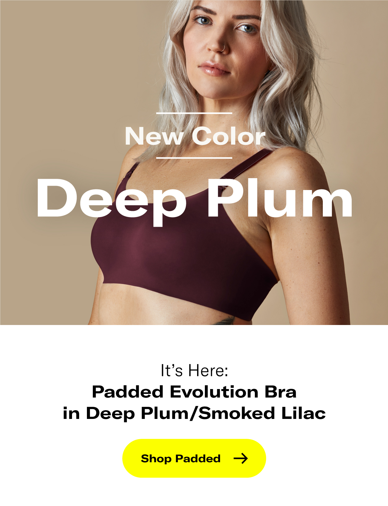 New Deep Plum Subhead: It's Here: Padded Evolution Bra in Deep Plum/Smoked Lilac