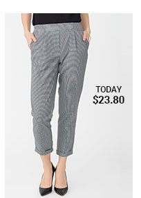 Cuffed Houndstooth Capris