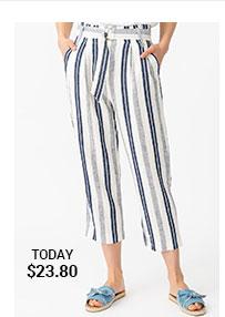 High Waist Striped Linen Capri Pants