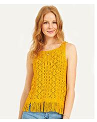 Sleeveless Fringe Crochet Tank Top