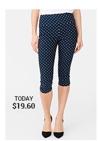 Pull-On Dot Print Capri with Leg Ruching Detail
