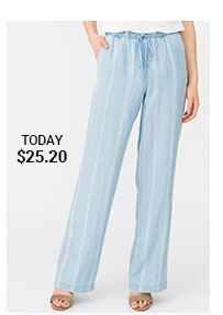 Wide Leg Striped Denim Pants with Elastic Waistband