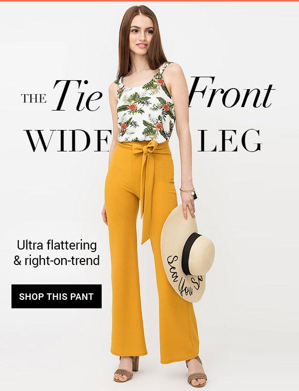 High-Waisted Crepe Pants with Flared Leg and Sash