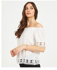 Off-The-Shoulder Crochet Peasant Top