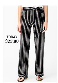 Striped Sashed Pull-on Pants with Wide Legs