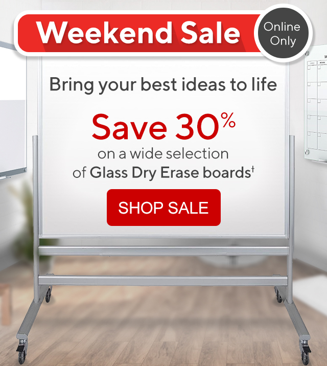 Save 30% on a wide selection of glass dry erase boards.