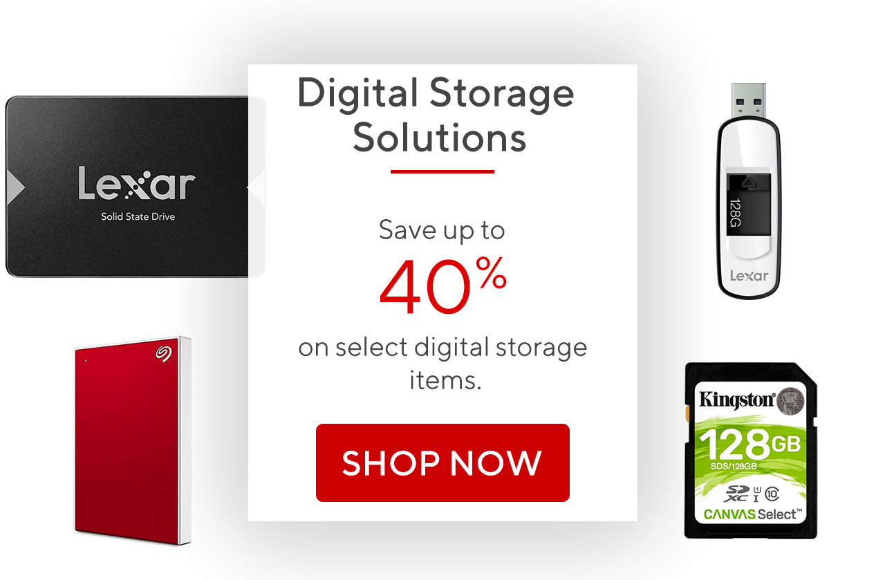 Save up to 40% on select digital storage items.