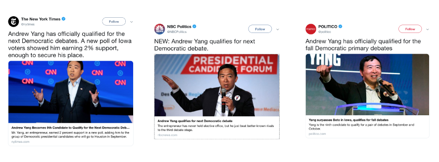 Tweets announcing Andrew Yang making the Fall Debates