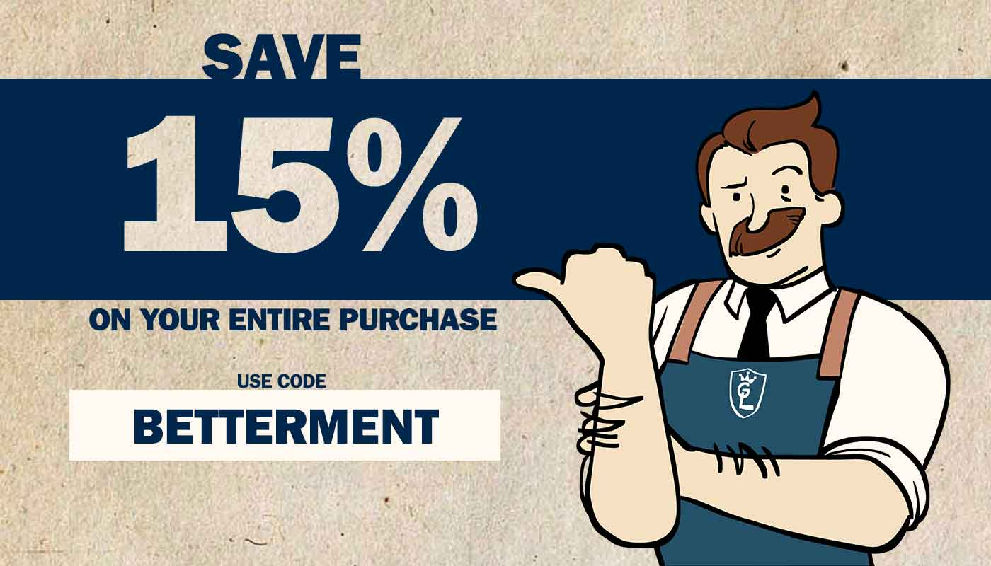 Save 15% On Your Entire Purchase With Code BETTERMENT