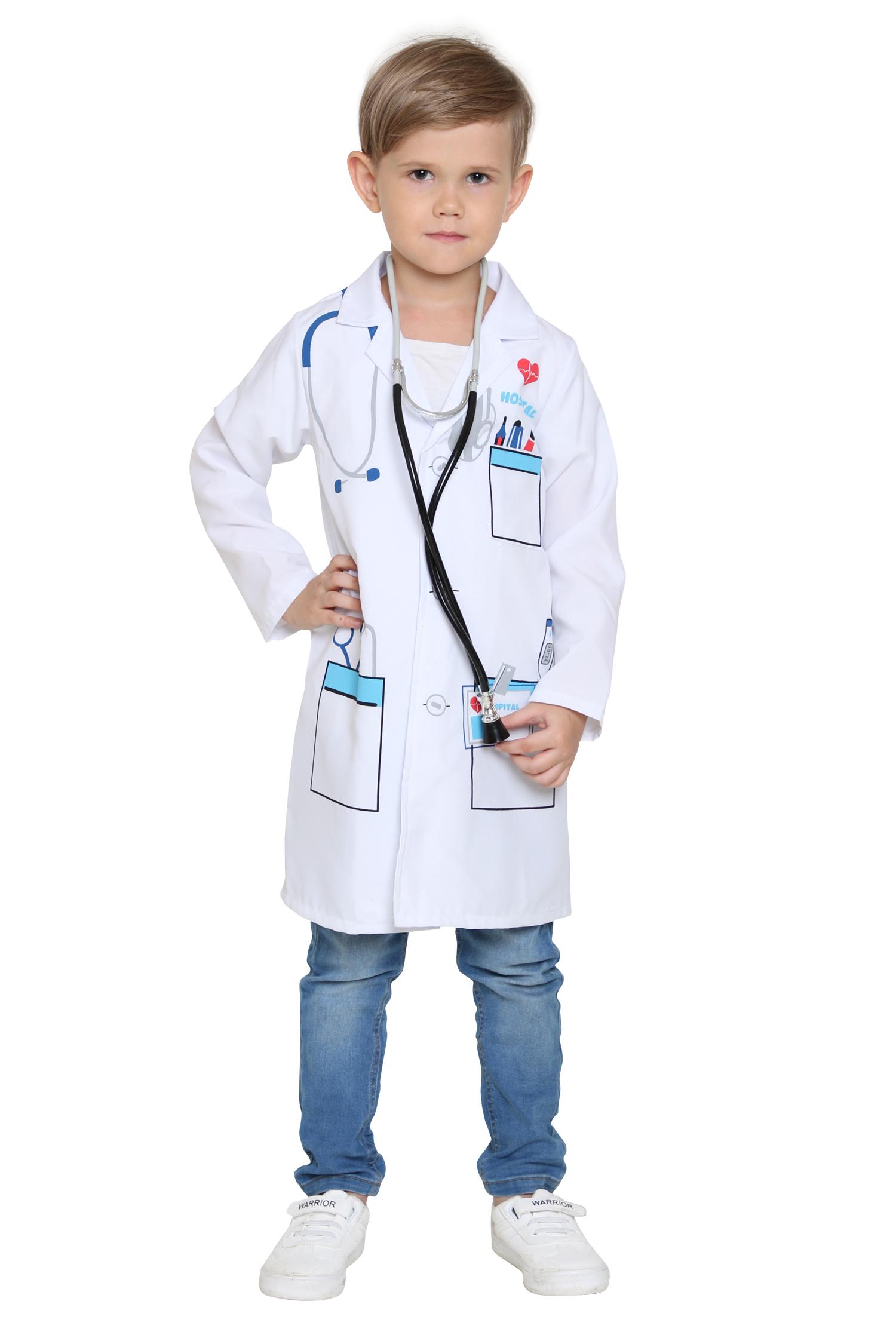 Boys/&Girls Doctor Medical White Lab Coat Costume Super Soft Kid Cosplay Uniform