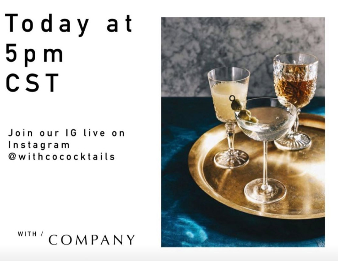 Join our friend at WithCo on their Instagram IGTV at 5pm for a virtual happy hour.