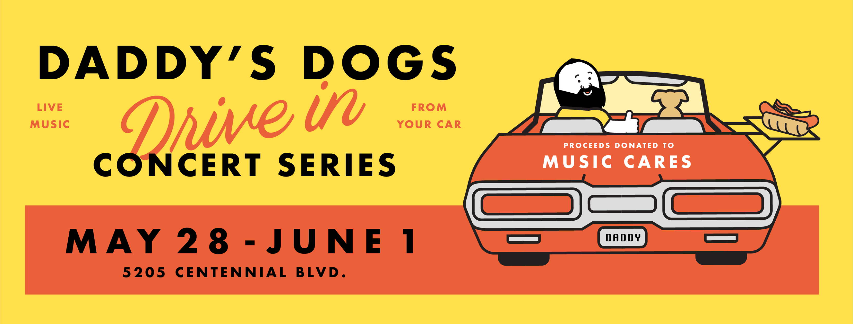 Sean Porter of Daddy's Dogs is hosting a drive-in concert series at the Daddy's Dogs location in the Nations nightly from 8-10 p.m.on Thursday, May 28, through Monday, June 1