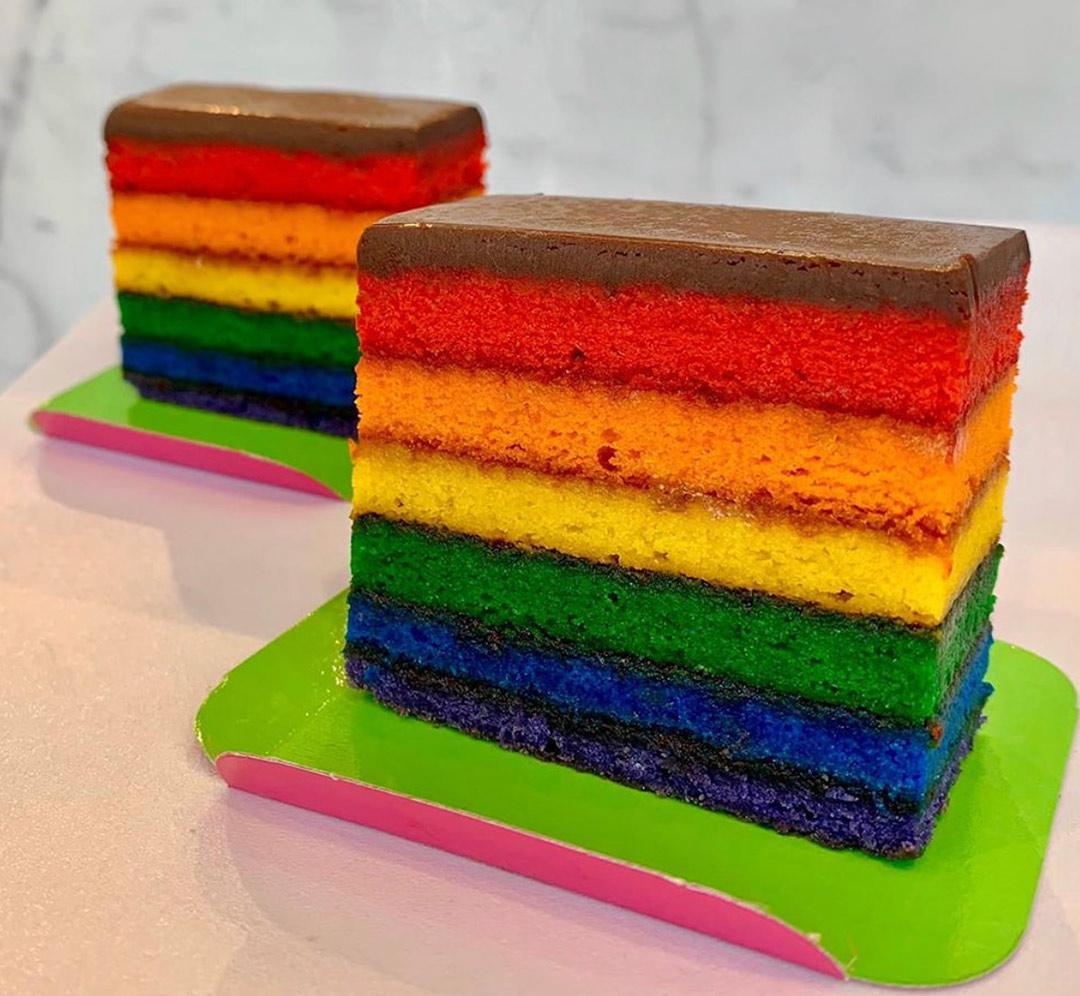 Get a slice of Pride Rainbow cake