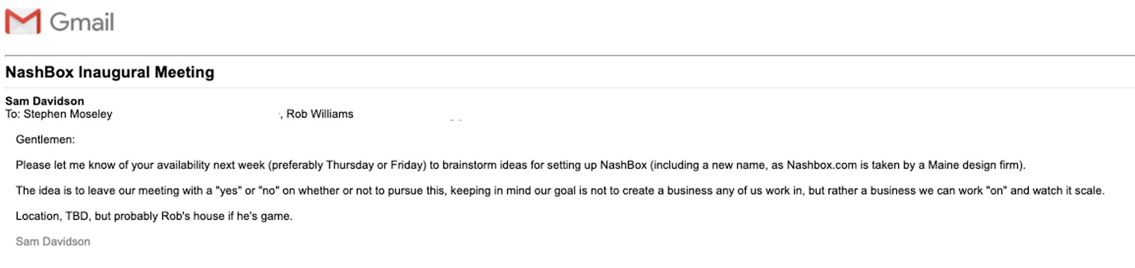 NashBox Inaugural Meeting