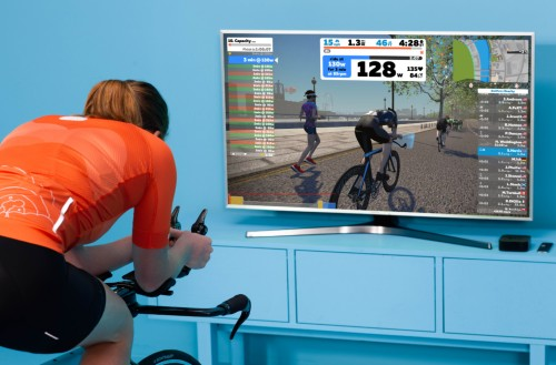 Zwift virtual training of a bicyclist and a virtual world on a television screen