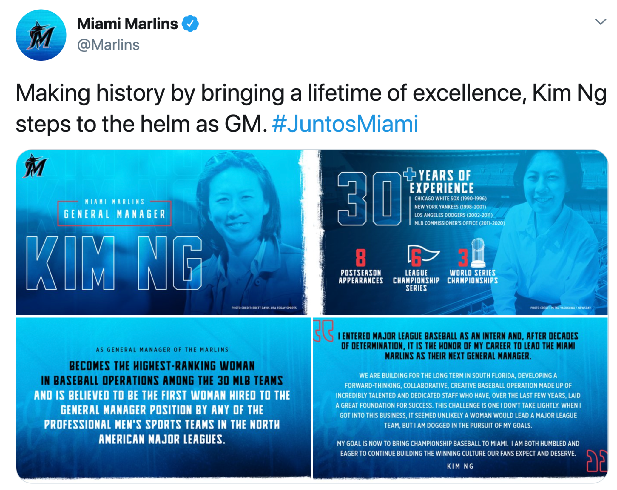 Miami Marlins @Marlins Making history by bringing a lifetime of excellence, Kim Ng steps to the helm as GM. #JuntosMiami