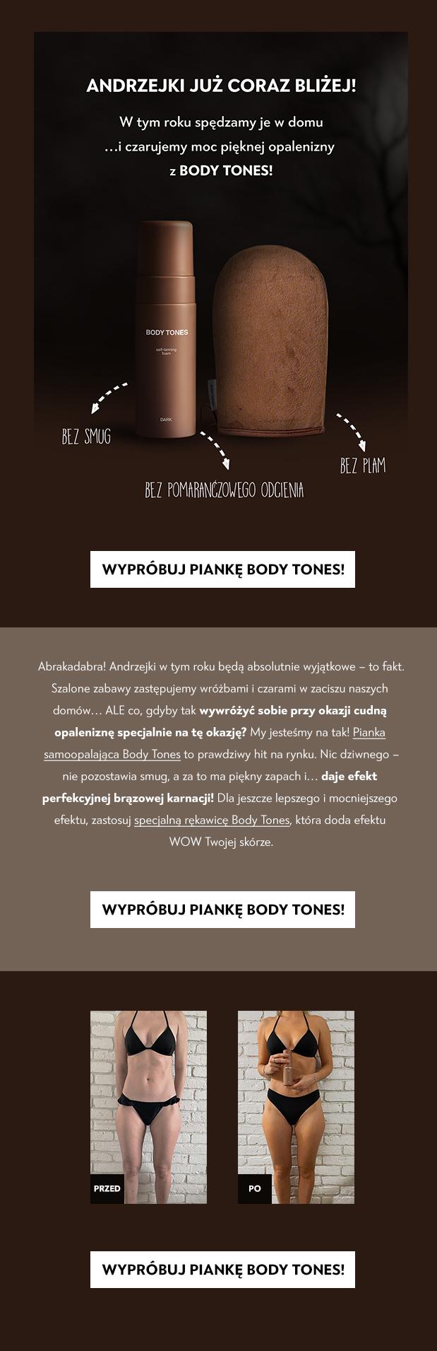 Zestaw Pianka Body Tones i rękawica