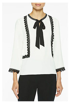 Ribbon and Lace Trim Crepe de Chine Blouse