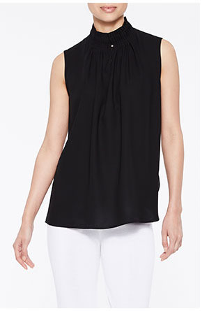 Ruched Neck Crepe de Chine Blouse, Black