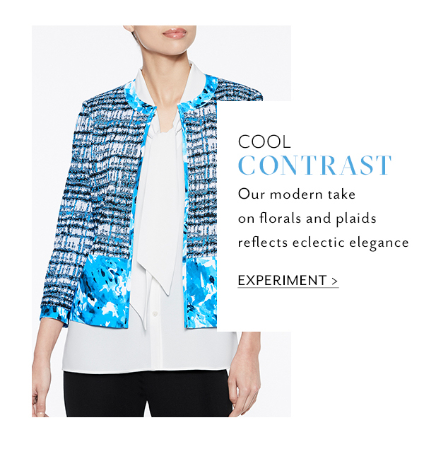 3. Cool Contrast: Our modern take on florals and plaids reflects eclectic elegance. Experiment >>