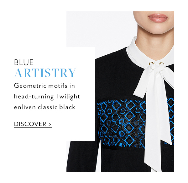 2. Blue Artistry: Geometric motifs in head-turning Twilight enliven classic black. Discover >>