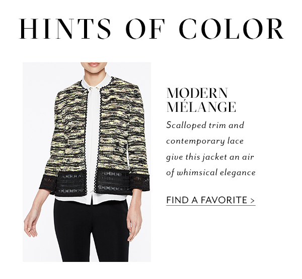 Hints of Color - Modern Mélange - Scalloped trim and contemporary lace give this jacket an air of whimsical elegance