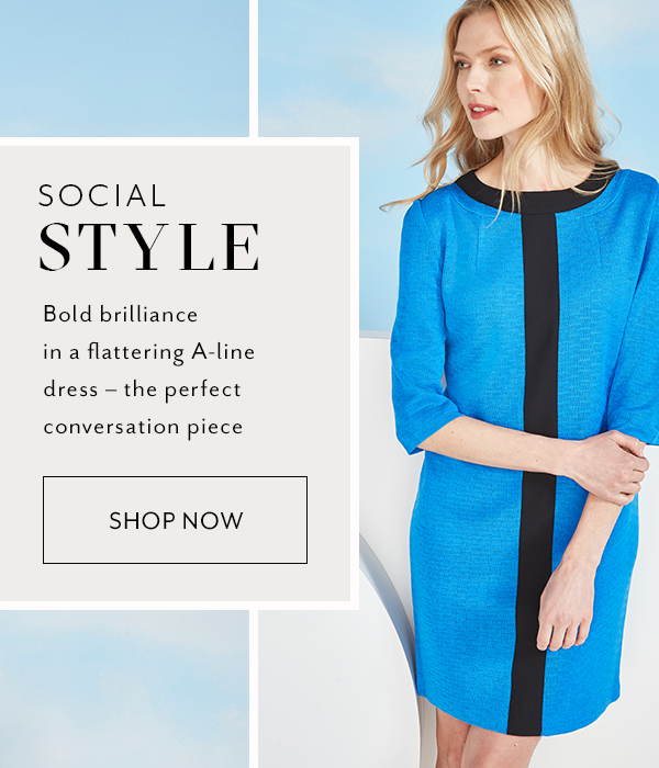 Social Style - Bold brillance in a flattering A-line dress - the perfect conversation piece. Shop Now >>