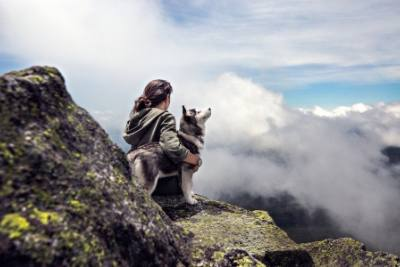 Vaper in the clouds with pet