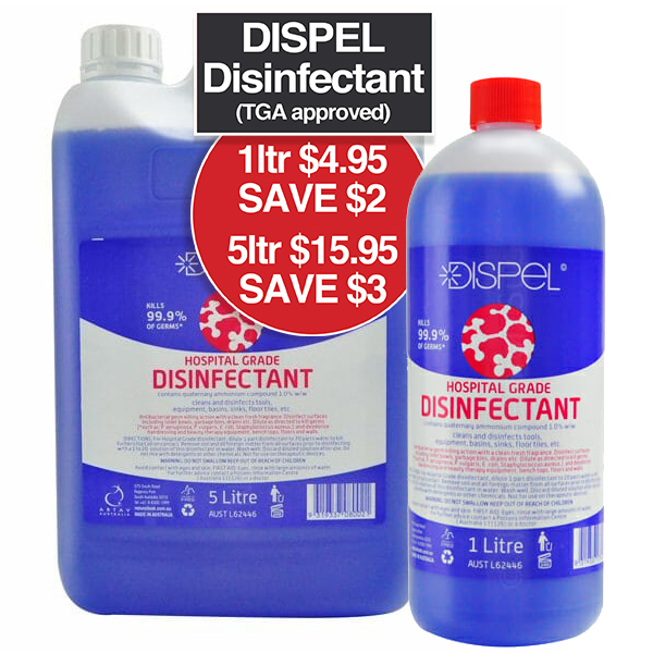 Dispel Blue Disinfectant TGA Approved 1 ltr $4.95 SAVE $2 5 ltr $15.95 SAVE $3