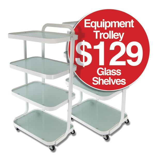 Equipment Trolley - Glass Shelves  $129