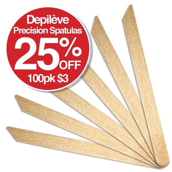 Depileve Precision Spatulas 100pk $3.00 SAVE 25%