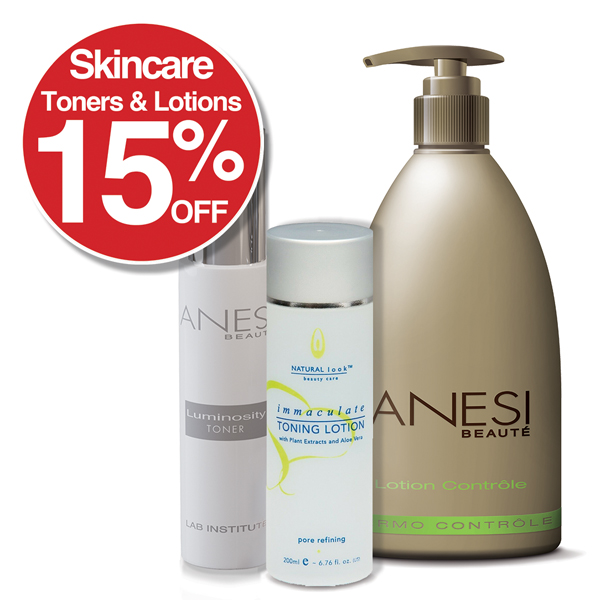 15% off all SkinCare / Toners and Lotions