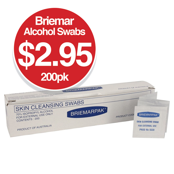 Briemar Alcohol Swabs 200 Pack $2.95