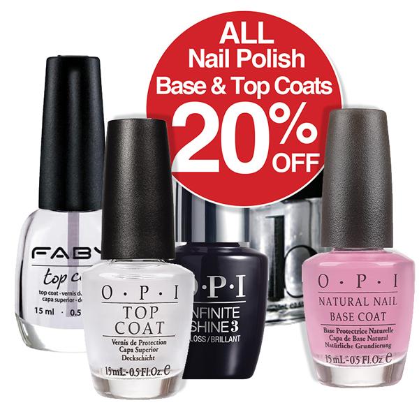 20% OFF All  Nail Polish Base & Top Coats
