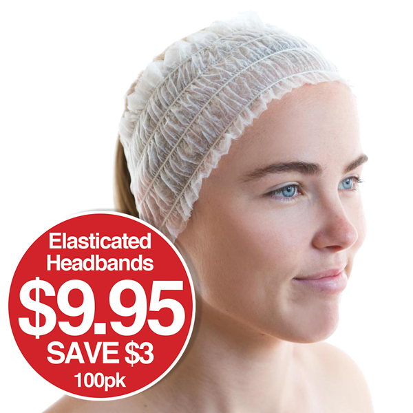 Disposable Headband Elasticised 100pk $9.95 Save $3