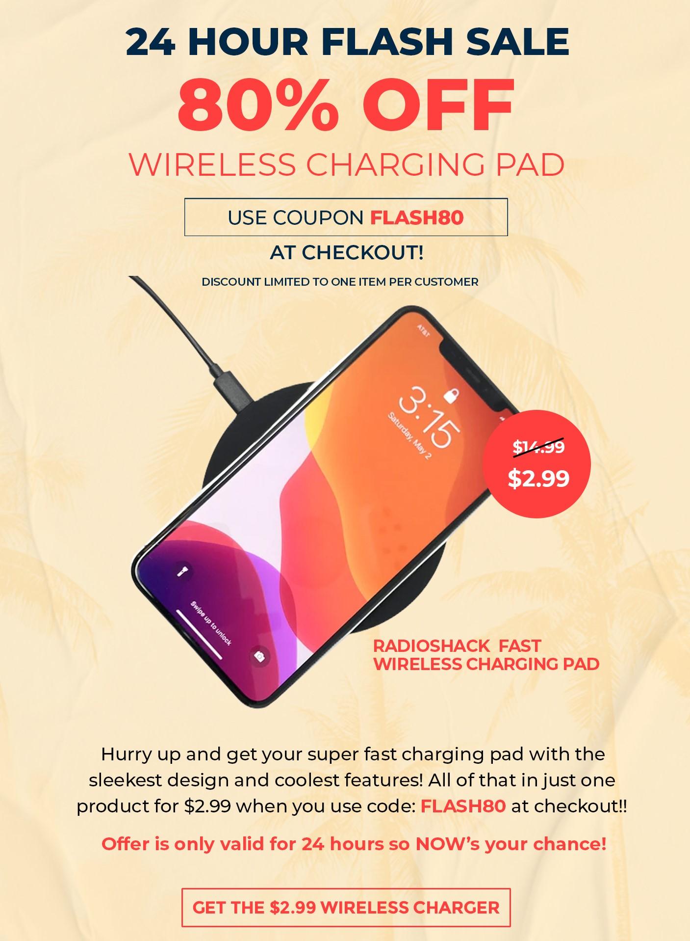 RadioShack 10W Fast Wireless Charging Pad