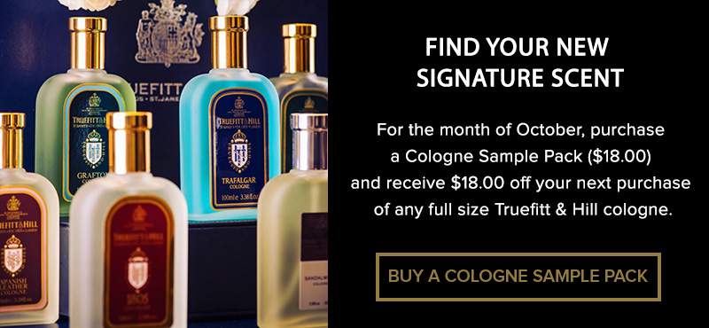 banner for the buy a cologne sample pack offer