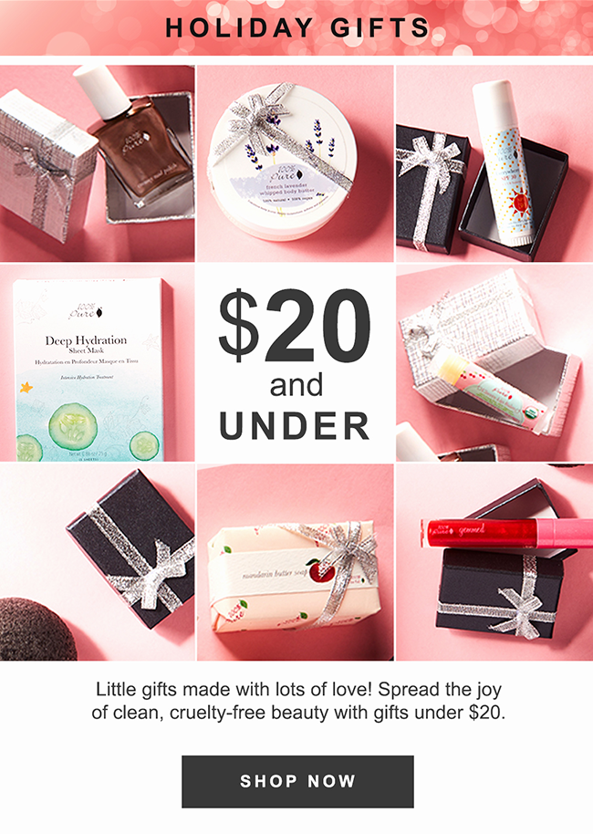 Little gifts made with lots of love! Spread the joy of clean, cruelty-free beauty with gifts under $20.