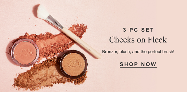 3 pc set. Cheeks on Fleek. Bronzer, blush, and the perfect brush! Shop Now
