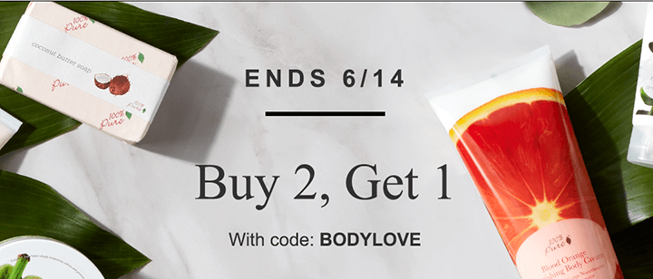 Ends 6/14, buy 2, get 1 with code: bodylove