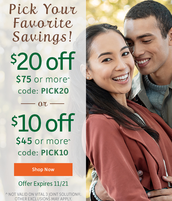 PICK YOUR SAVINGS | $20 OFF $75 OR MORE - CODE PICK20 | $10 OFF $55 OR MORE - CODE PICK15