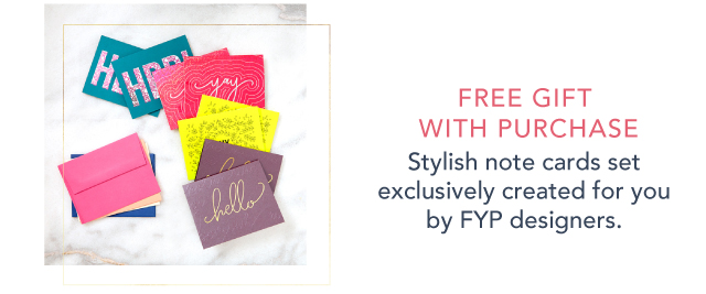 Free gift with purchase - a set of 8 note cards with envelopes!