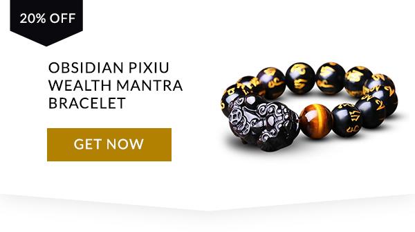 Obsidian Pixiu Wealth Mantra Armband
