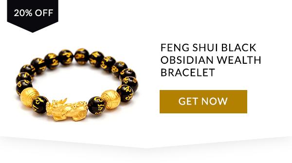 Feng Shui Schwarz Obsidian Reichtum Armband