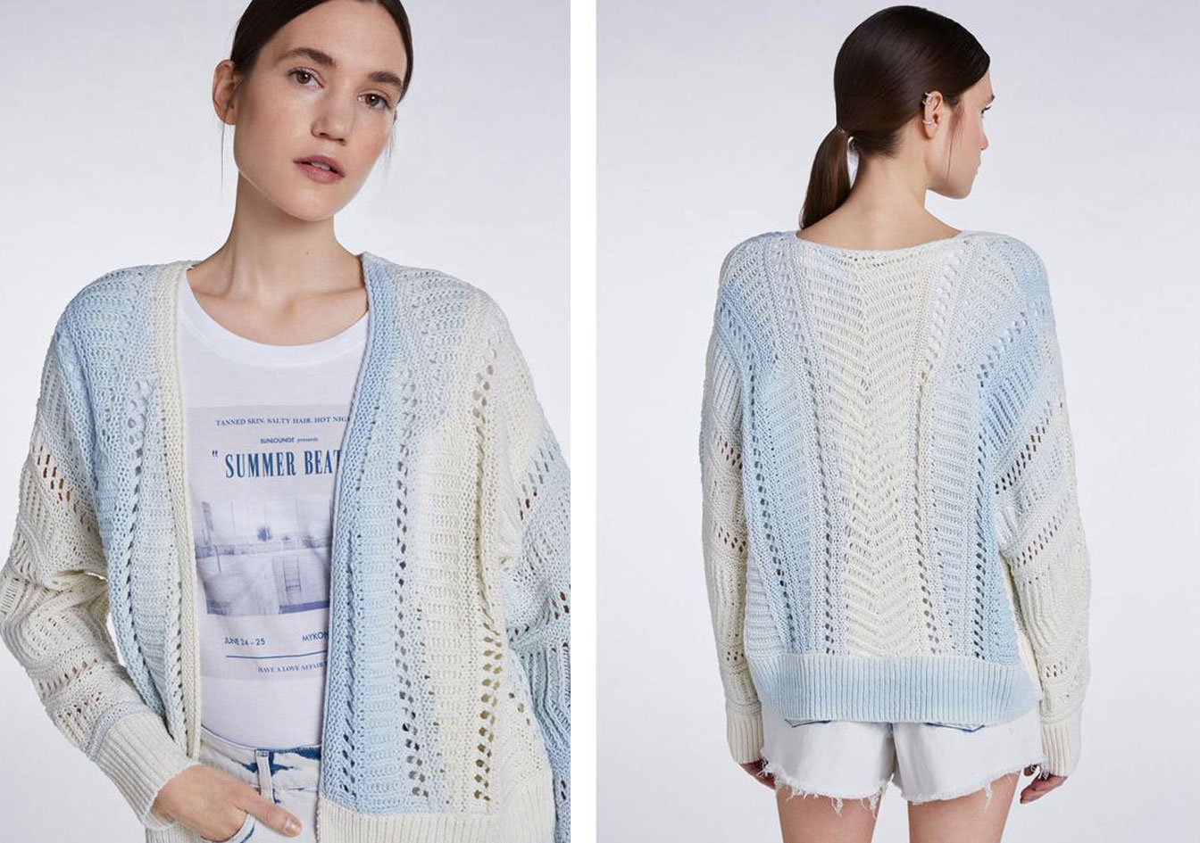 oui-open-knit-cardigan-blue-white