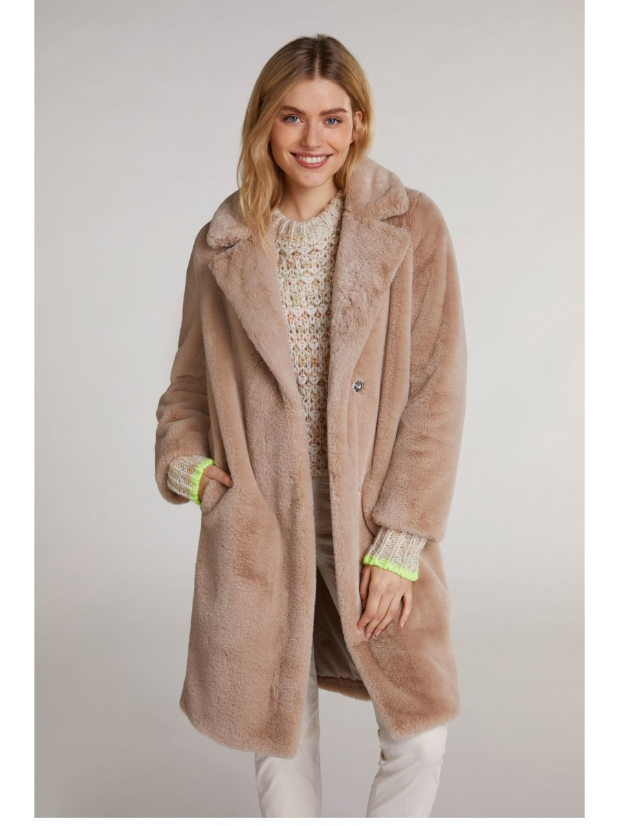 Oui Fur Free Coat In Cobblestone