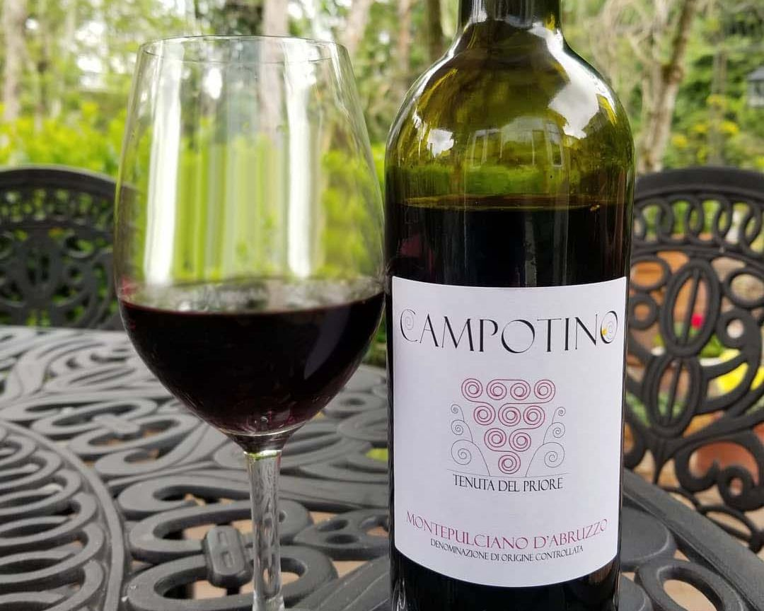 Bottle and glass of Campotino Montepulciano D'Abruzzo Doc 2020 on a table in the garden.