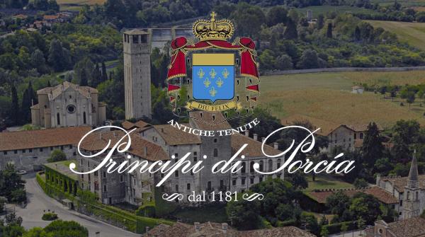 Aerial shot of Principe di Porcia chateau.