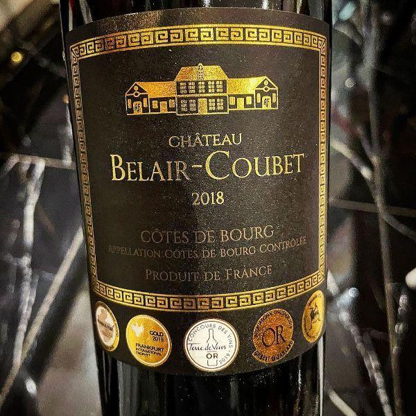 Bottle of Bordeaux Côtes De Bourg by Château Belair-Coubet 2018 showing the label.