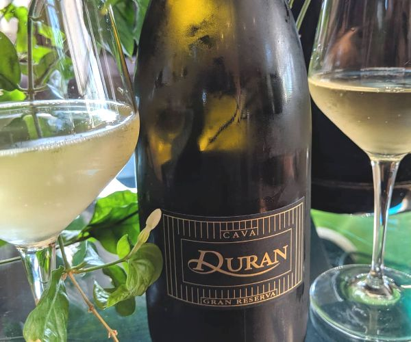 Chilled bottle of Duran Cava Gran Reserva Brut 2016 by Ramon Canals on a table next to 2 half filled glasses.